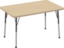 "30"" x 48"" Rectangle T-Mold Adjustable Activity Table - Maple Top/Standard Leg"