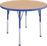 "36"" Round T-Mold Adjustable Activity Table-Maple Top/Standard Leg"