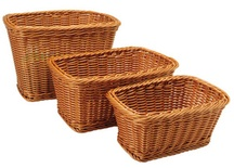 Rectangular Plastic Woven Baskets, Set of 3