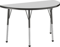 "24"" x 48"" Half Round T-Mold Adjustable Activity Table with Standard Ball, Gray/Black"