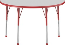 "24"" x 48"" Half Round T-Mold Adjustable Activity Table with Standard Ball, Gray/Red"