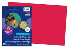 "SunWorks® Construction Paper, 12"" x 18"", Holiday Red"