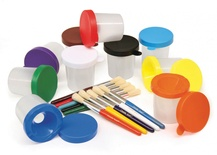 No-Spill Paint Cups, Set of 10 Cups & Brushes