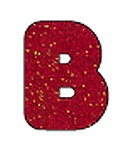 Casual Uppercase Ready Letters, Red Sparkle, 4""