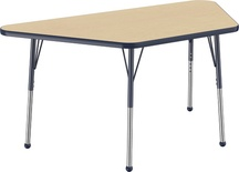 "30"" x 60"" Trapezoid T-Mold Adjustable Activity Table with Standard Ball, Maple/Navy"