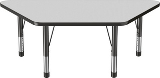 "30"" x 60"" Trapezoid T-Mold Adjustable Activity Table with Chunky Leg, Gray/Black"