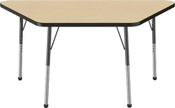 "30"" x 60"" Trapezoid T-Mold Adjustable Activity Table with Standard Ball, Maple/Black"