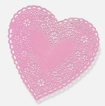 "Doilies, 4"" Pink Hearts"