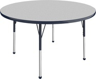 "48"" Round T-Mold Adjustable Activity Table- Gray Top/Standard Leg"
