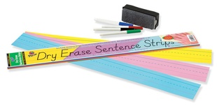 "Dry Erase Sentence Strips, Assorted, 3"" x 24"""