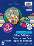 "SunWorks® Construction Paper, 9"" x 12"", Assorted, 10 Colors"