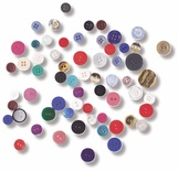 Assorted Buttons, 16 oz. in Plastic Bucket