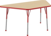 "30"" x 60"" Trapezoid T-Mold Adjustable Activity Table with Standard Ball, Maple/Red"
