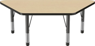 "30"" x 60"" Trapezoid T-Mold Adjustable Activity Table with Chunky Leg, Maple/Black"