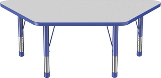 "30"" x 60"" Trapezoid T-Mold Adjustable Activity Table with Chunky Leg, Gray/Blue"