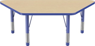 "30"" x 60"" Trapezoid T-Mold Adjustable Activity Table with Chunky Leg, Maple/Blue"