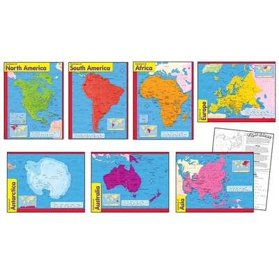 Continents Learning Chart Combo Pack