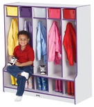 5-Section Coat Locker with Step, Rainbow Accents
