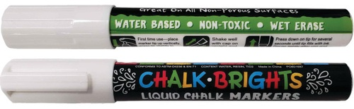 Liquid Chalk Markers, White, 2-pack
