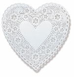 "Doilies, 4"" White Hearts"