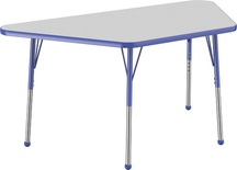 "30"" x 60"" Trapezoid T-Mold Adjustable Activity Table with Standard Ball, Gray/Blue"