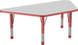 "30"" x 60"" Trapezoid T-Mold Adjustable Activity Table with Chunky Leg, Gray/Red"