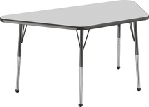"30"" x 60"" Trapezoid T-Mold Adjustable Activity Table with Standard Ball, Gray/Black"
