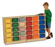 30 Tray Mobile Cubbie, With colored trays