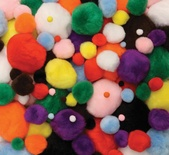 Pom Pons, Assorted Sizes, Bright Hues