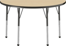 "24"" x 48"" Half Round T-Mold Adjustable Activity Table with Standard Ball, Maple/Black"