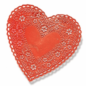 "Doilies, 4"" Red Hearts"