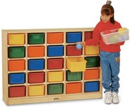 25 Tray Mobile Cubbie, With colored trays
