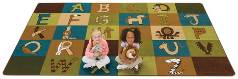 "A to Z Animals Rectangle Carpet, Nature Colors - 7'6"" x 12'"