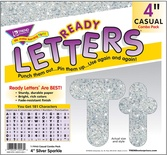 Uppercase/Lowercase Casual Solids Ready Letters® Combo Pack, Silver Sparkle 4''