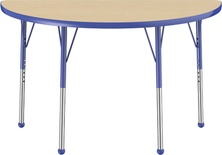 "24"" x 48"" Half Round T-Mold Adjustable Activity Table with Standard Ball, Maple/Blue"