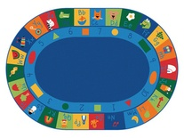 "Learning Blocks Carpet, 8'3"" x 11'8"" Oval, Primary Colors"