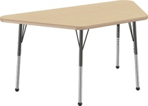 "30"" x 60"" Trapezoid T-Mold Adjustable Activity Table with Standard Ball, Maple/Maple"