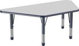 "30"" x 60"" Trapezoid T-Mold Adjustable Activity Table with Chunky Leg, Gray/Navy"