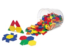 Plastic Pattern Blocks, .5 cm thick, Set of 250