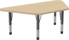 "30"" x 60"" Trapezoid T-Mold Adjustable Activity Table with Chunky Leg, Maple/Maple"