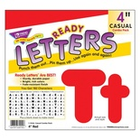 Uppercase/Lowercase Casual Solids Ready Letters® Combo Pack, Red 4''