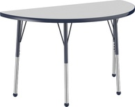 "24"" x 48"" Half Round T-Mold Adjustable Activity Table with Standard Ball, Gray/Navy"