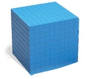 Plastic Base Ten Components, Blue Cube
