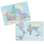 Canada & World Rolled Laminated Map Set