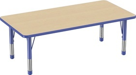 "30"" x 60"" Rectangle T-Mold Adjustable Activity Table with Chunky Leg - Maple Top"