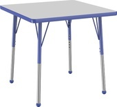 "30"" x 30"" Square T-Mold Adjustable Activity Table-Gray Top/Standard Leg"