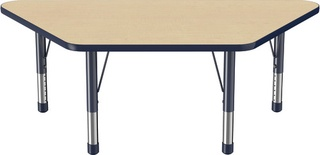 "30"" x 60"" Trapezoid T-Mold Adjustable Activity Table with Chunky Leg, Maple/Navy"