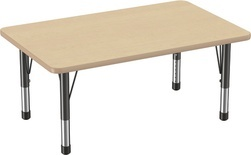 "30"" x 72"" Rectangle T-Mold Adjustable Activity Table with Chunky Leg/Maple Top"