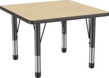 "30"" x 30"" Square T-Mold Adjustable Activity Table with Chunky Leg/Maple Top"