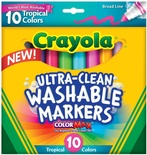 Crayola® Washable Broad-Line Markers, 10 Tropical Colors